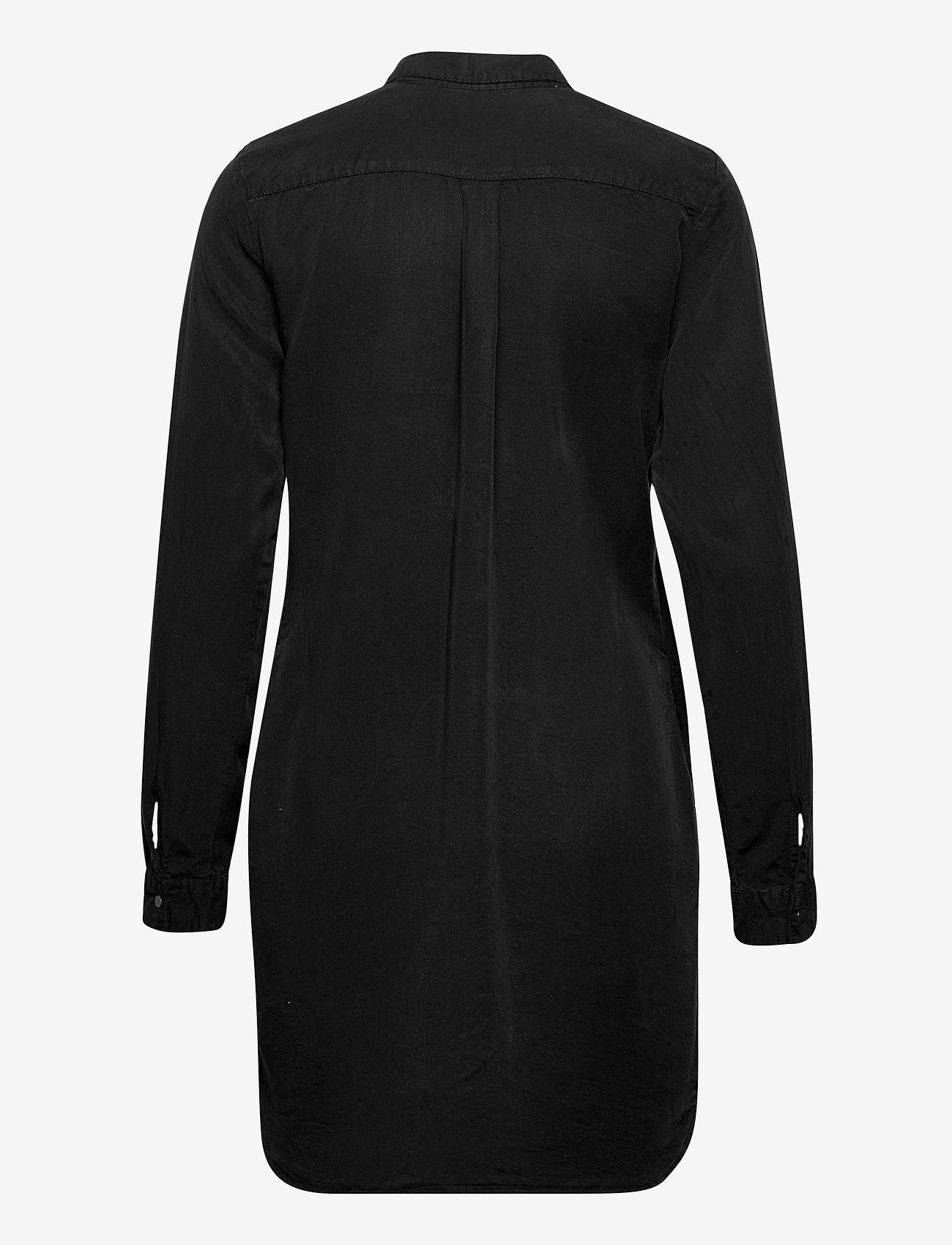 Vero Moda - VMSILLA LS SHORT DRESS BLCK GA - skjortklänningar - black - 1
