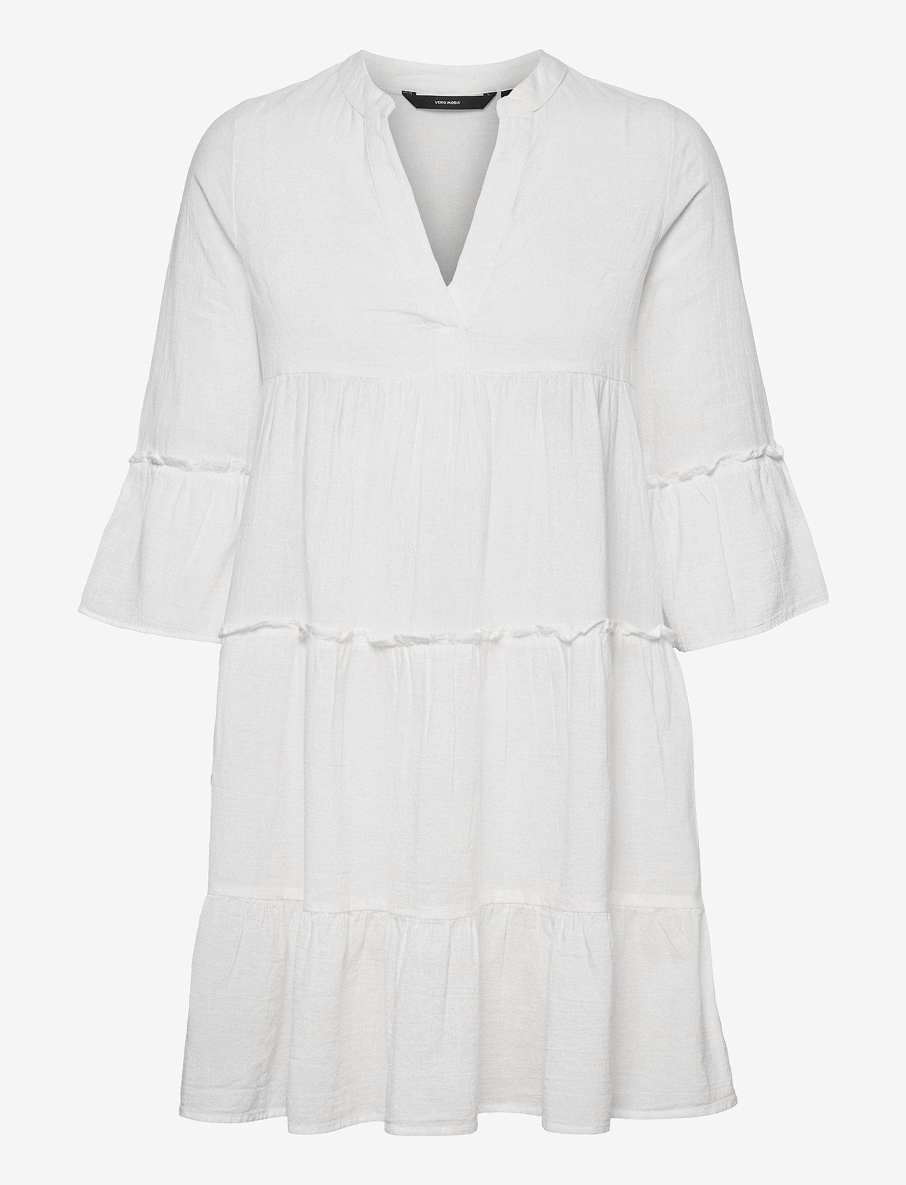 Vero Moda - VMHELI 3/4 SHORT DRESS WVN GA - sommarklänningar - snow white - 0