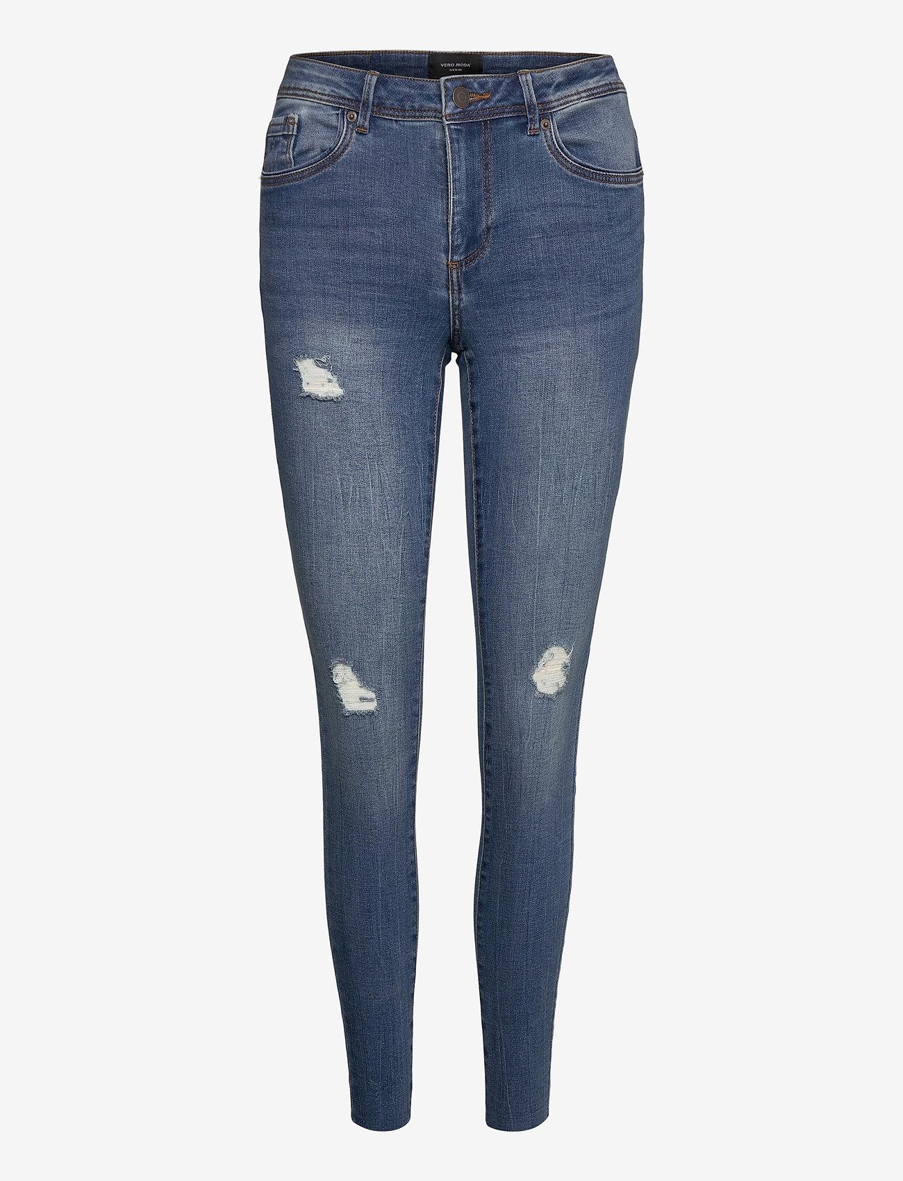 Vero Moda - VMTANYA MR S PIPING DS CUT VI349 GA NOOS - skinny jeans - medium blue denim - 0