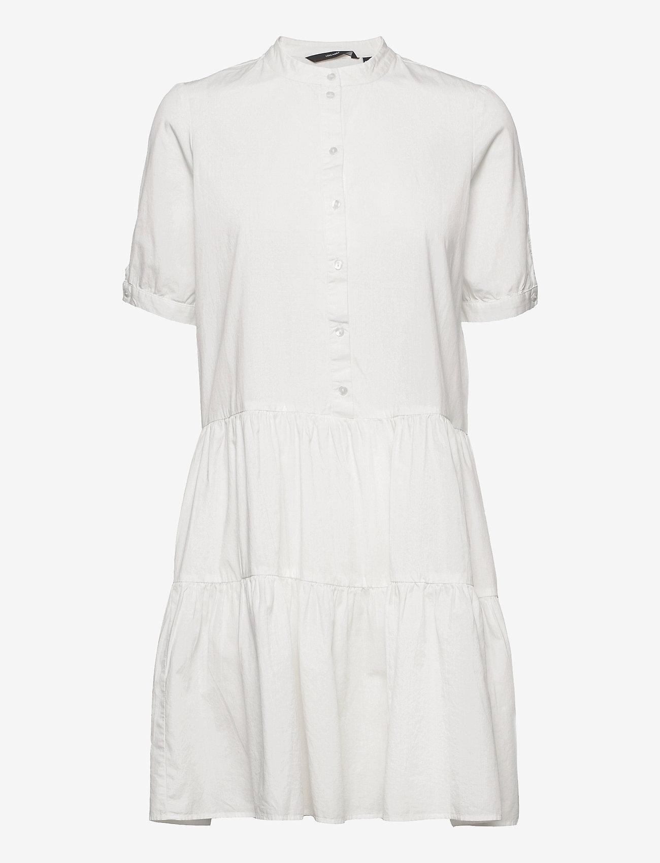 Vero Moda - VMDELTA 2/4 ABK DRESS WVN DA GA KI COLOR - sommarklänningar - snow white - 0
