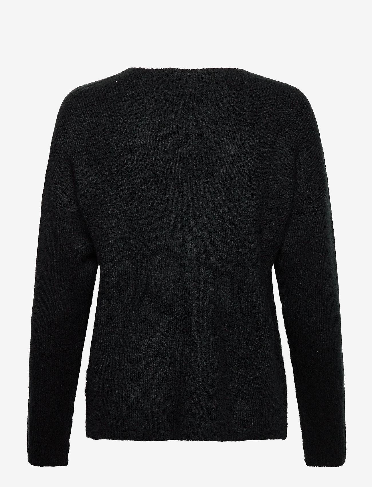 Vero Moda - VMCREWLEFILE LS V-NECK BLOUSE - tröjor - black - 1