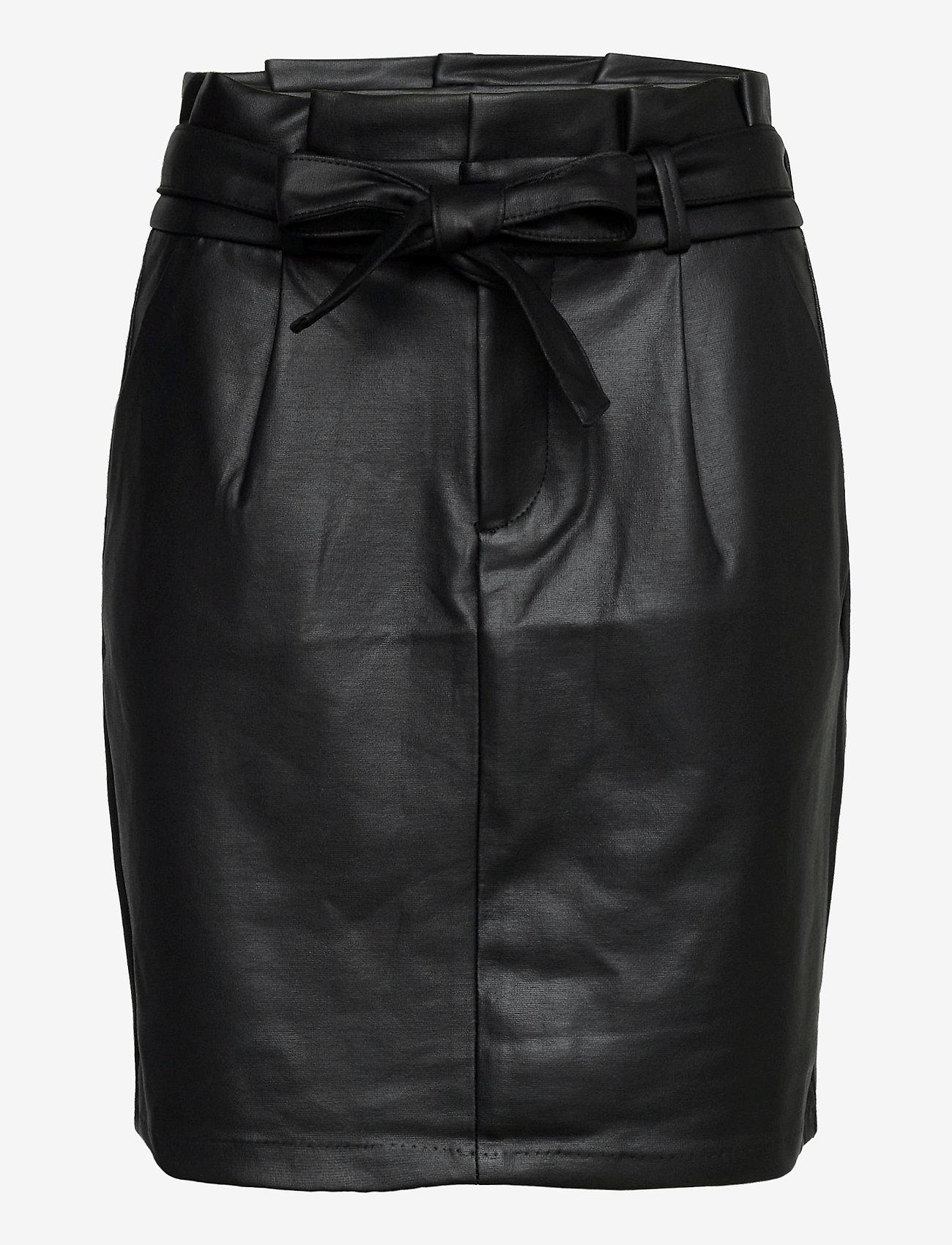 Vero Moda - VMEVA HR PAPERBAG SHORT COATED SKT - korta kjolar - black - 0