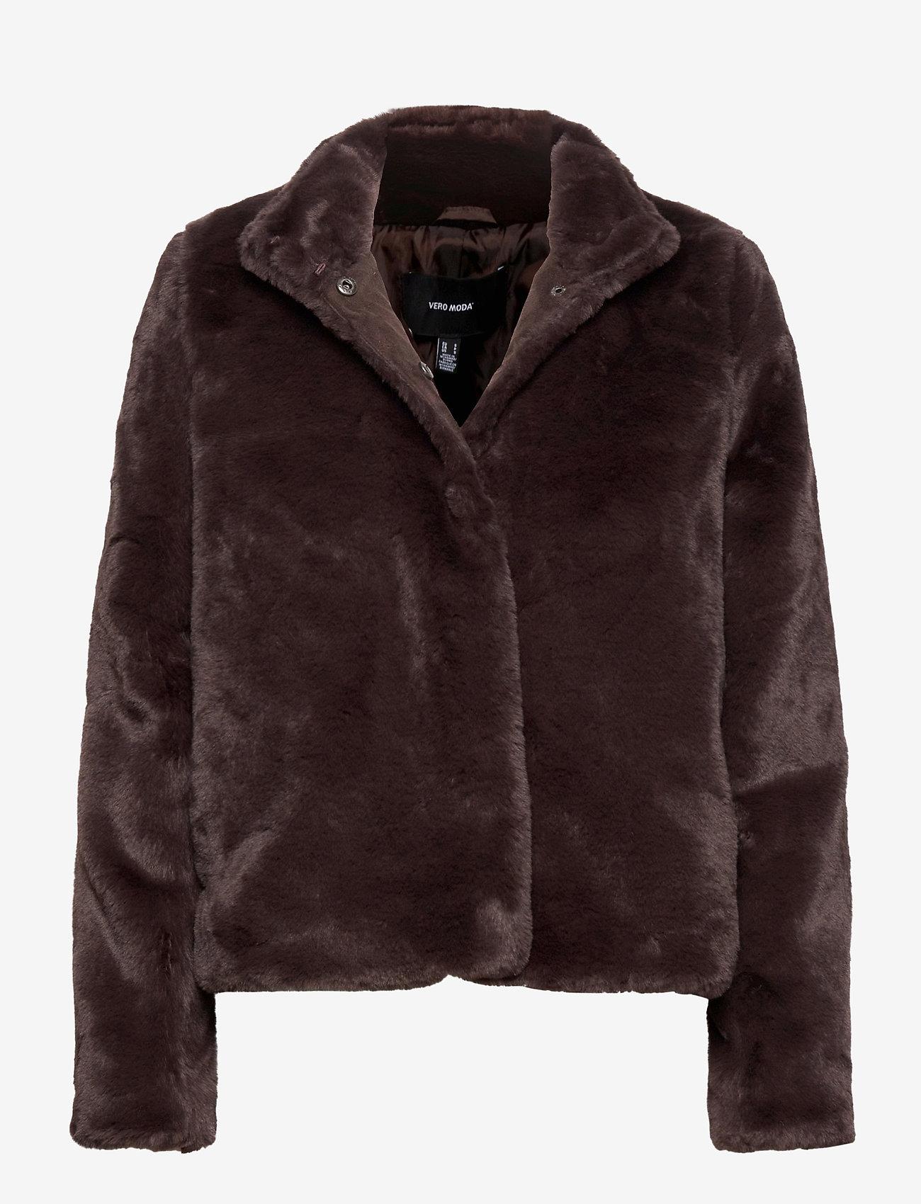 Vero Moda - VMTHEA SHORT FAUX FUR JACKET COL - faux fur - chocolate plum - 0