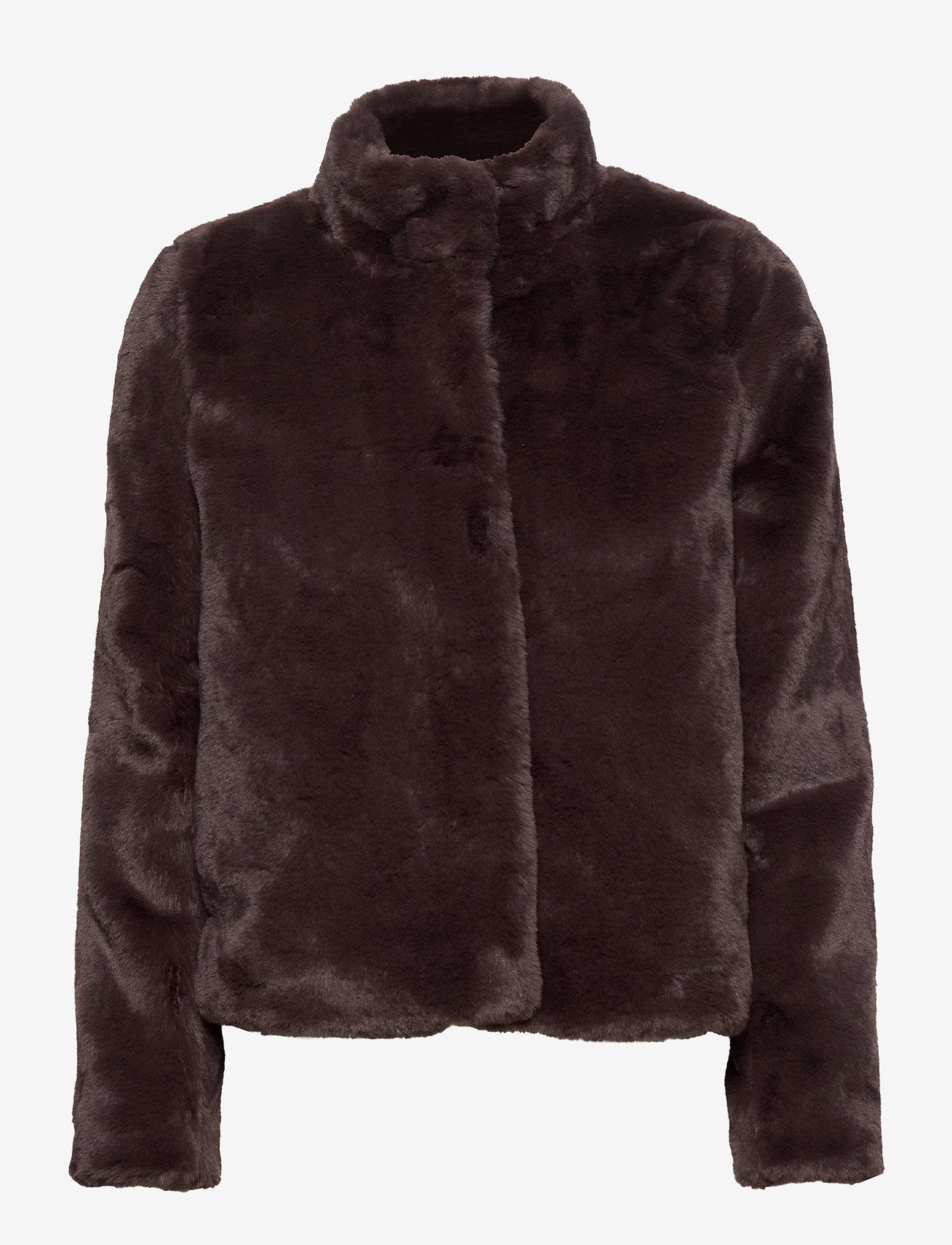 Vero Moda - VMTHEA SHORT FAUX FUR JACKET COL - faux fur - chocolate plum - 1