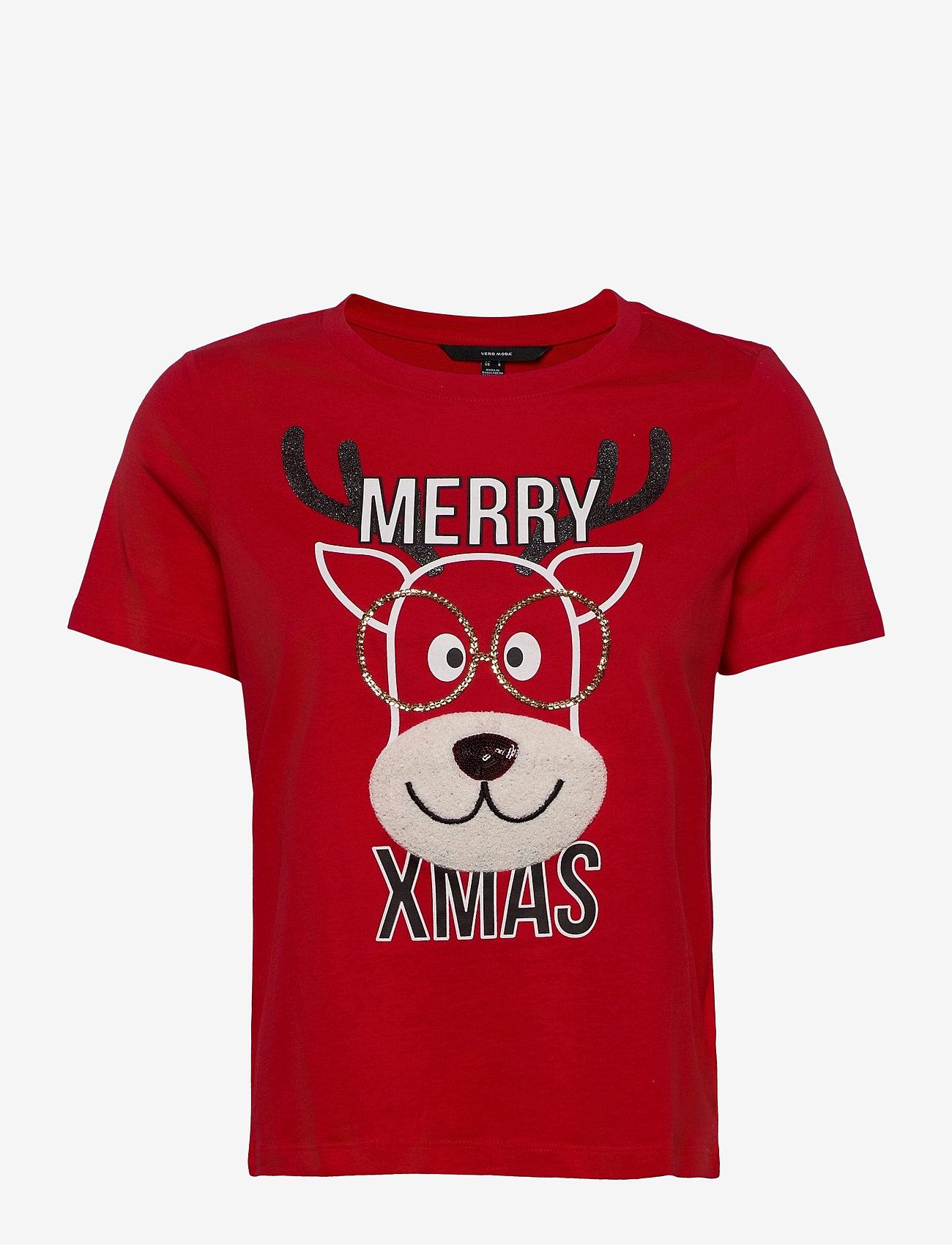 Vero Moda - VMXMASOLLY SS TOP BOX  JRS GA - t-shirts - chinese red - 0