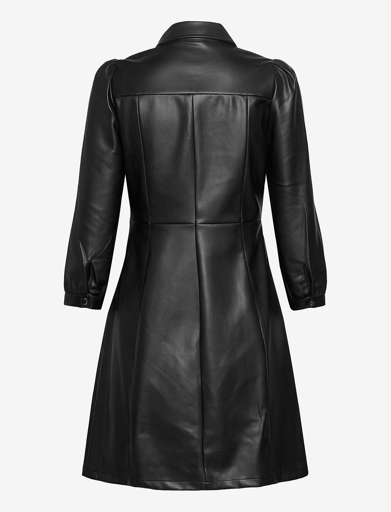 Vero Moda - VMBUTTERMOLLY ABOVE KNEE COATED DRESS - skjortklänningar - black - 1