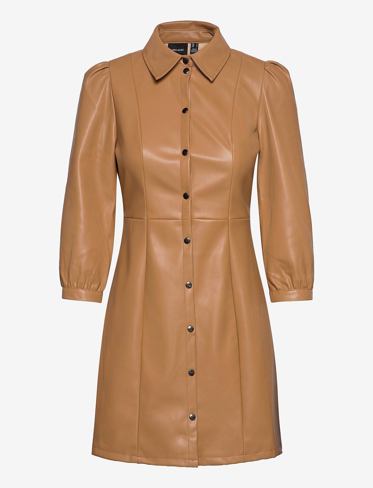 Vero Moda - VMBUTTERMOLLY ABOVE KNEE COATED DRESS - midiklänningar - tobacco brown - 0