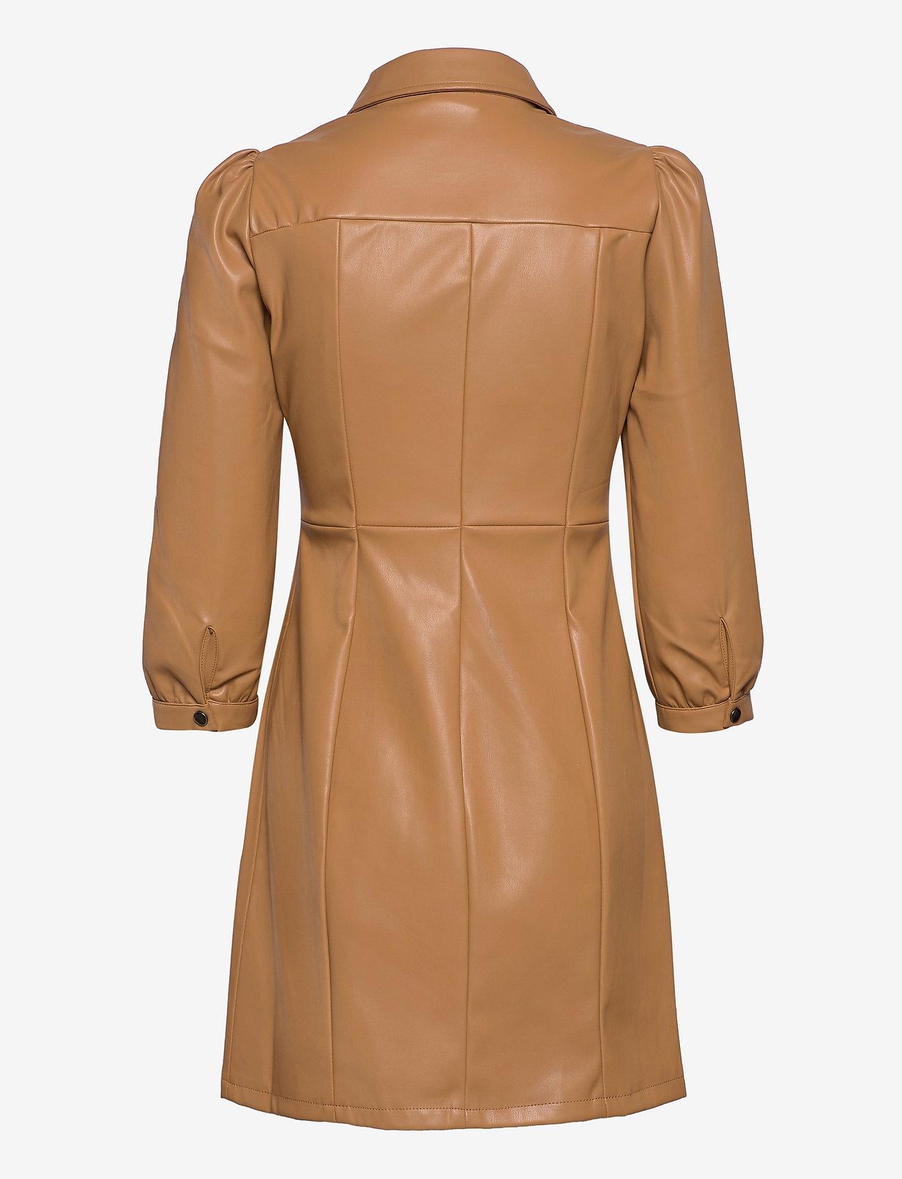 Vero Moda - VMBUTTERMOLLY ABOVE KNEE COATED DRESS - midiklänningar - tobacco brown - 1