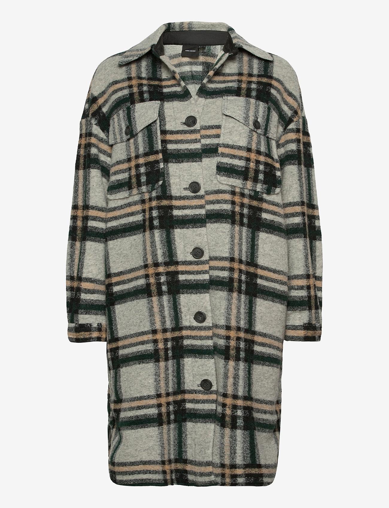 Vero Moda - VMCHRISSIE LONG CHECK SHIRT GA - overshirts - light grey melange - 0