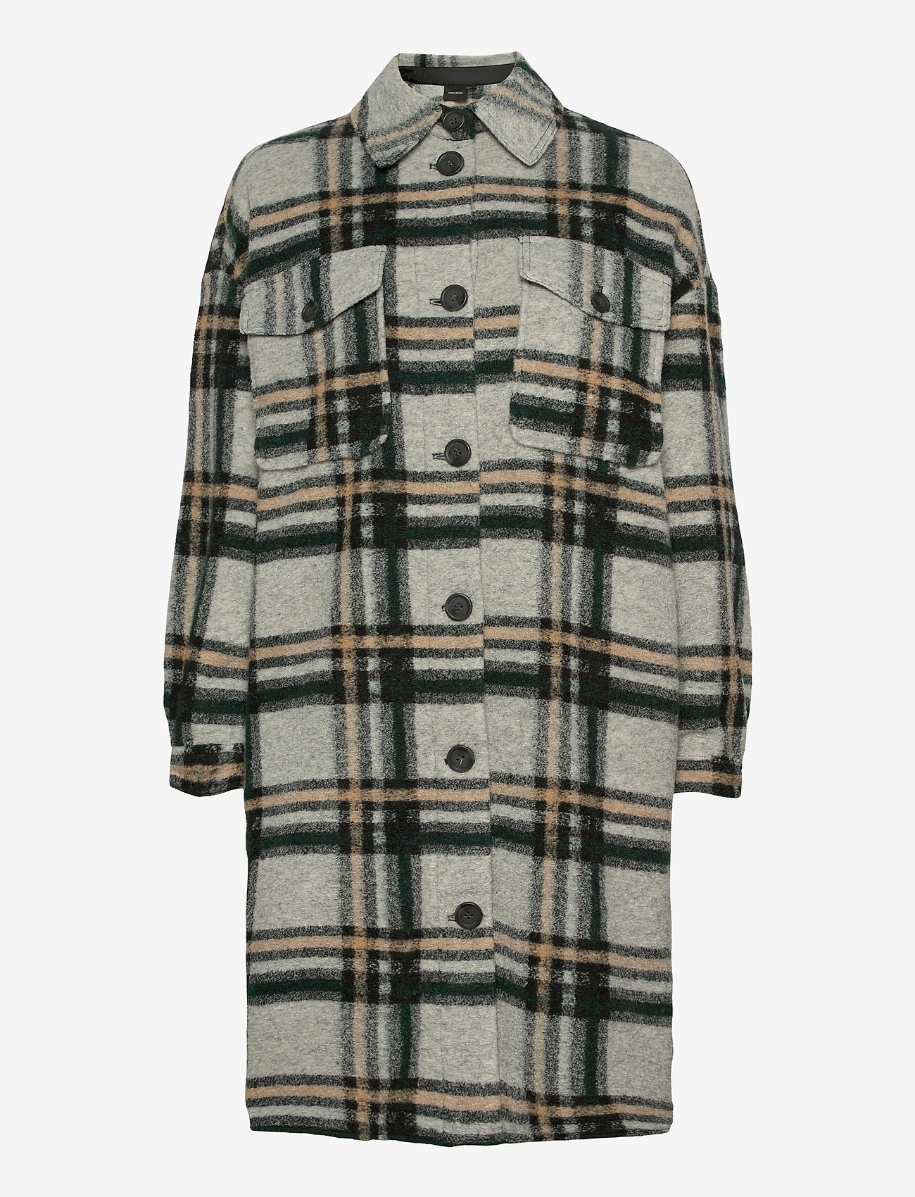 Vero Moda - VMCHRISSIE LONG CHECK SHIRT GA - overshirts - light grey melange - 1