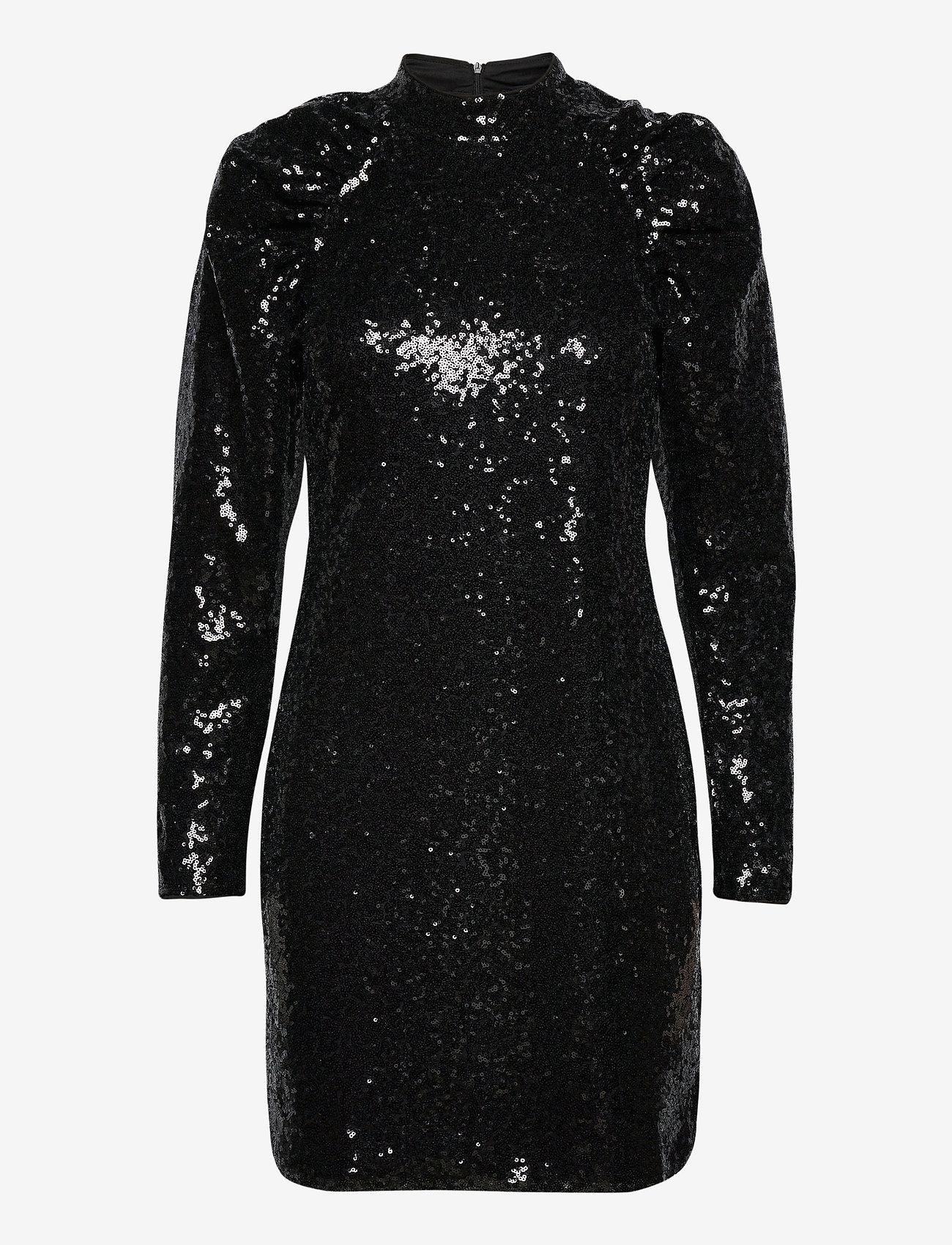Vero Moda - VMJAGGER LS SHORT DRESS JRS BOO - paljettklänningar - black - 0