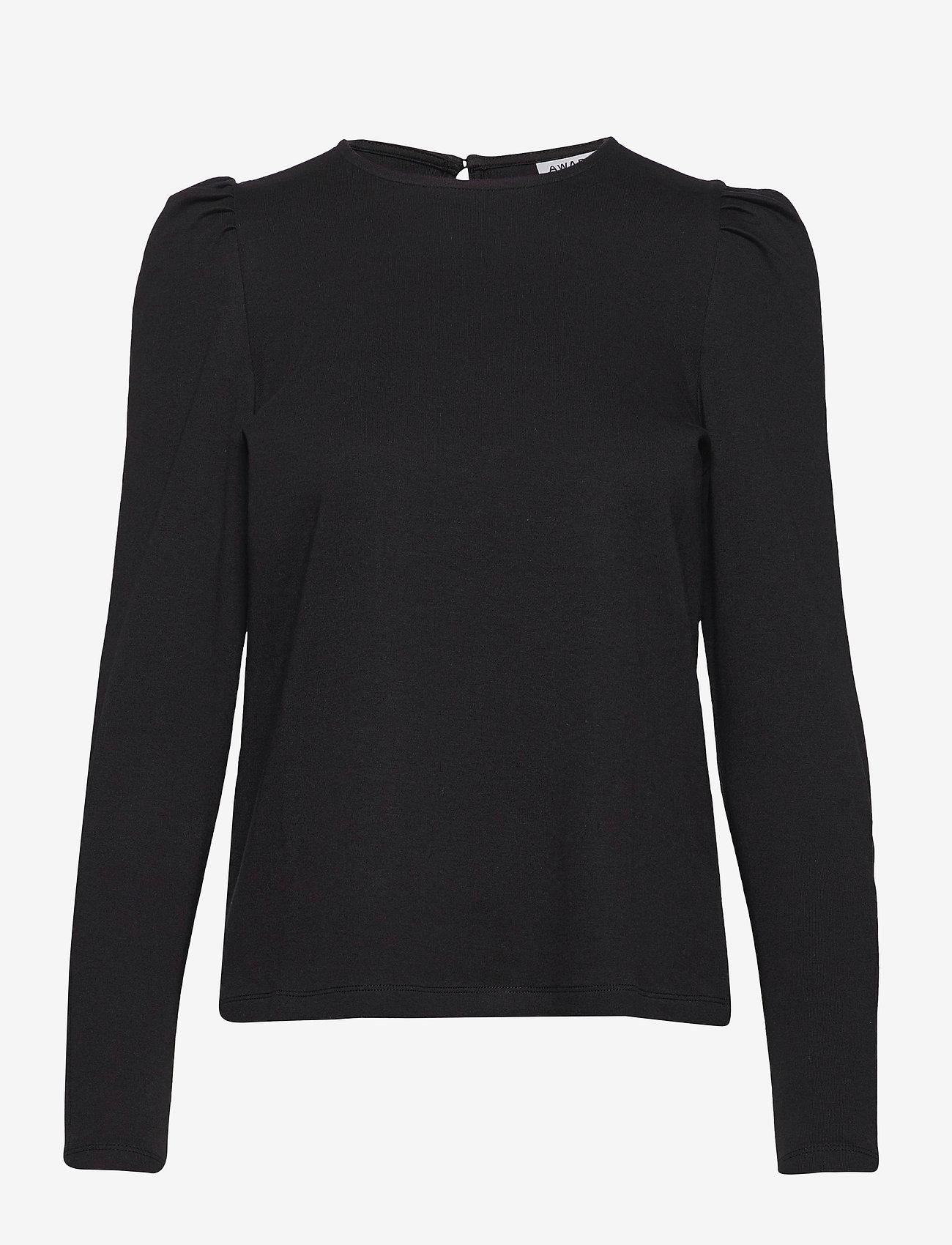 Vero Moda - VMNOREEN LS O-NECK BLOUSE VMA - långärmade blusar - black - 0