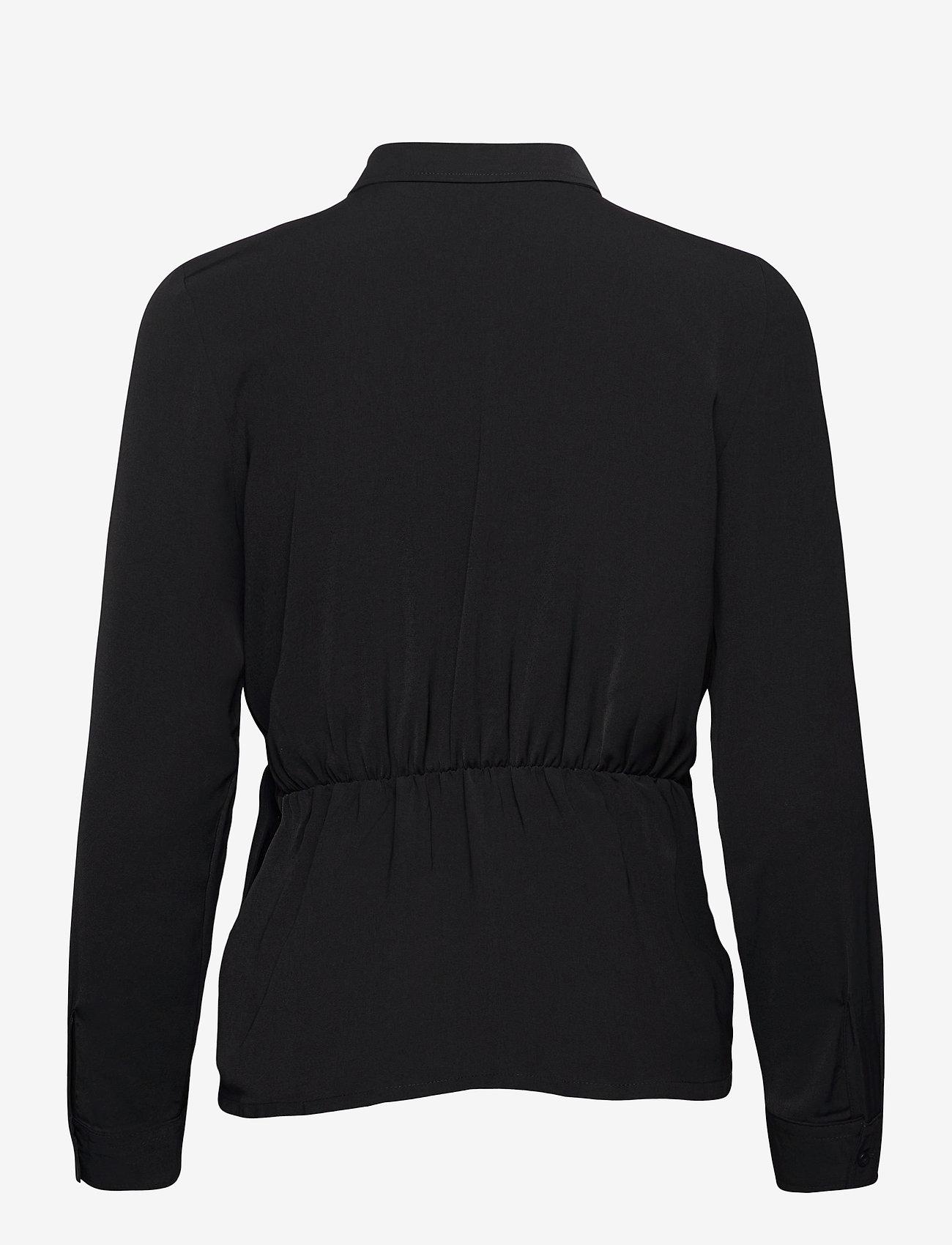 Vero Moda - VMMACI LS KNOT SHIRT WVN - långärmade skjortor - black - 1