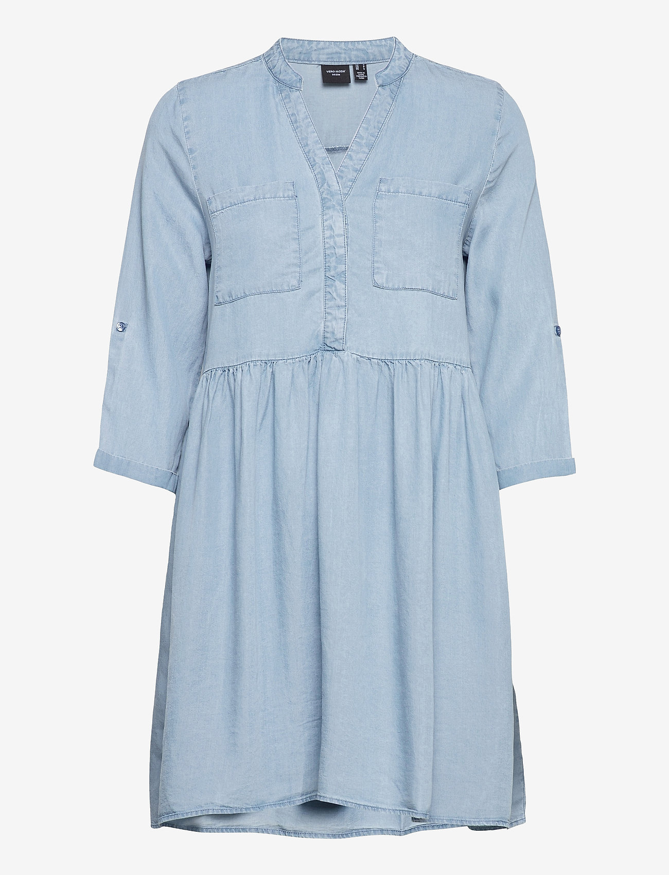 Vero Moda - VMLIBBIE 3/4 LOOSE TUNIC GA COLOR - vardagsklänningar - light blue denim - 0