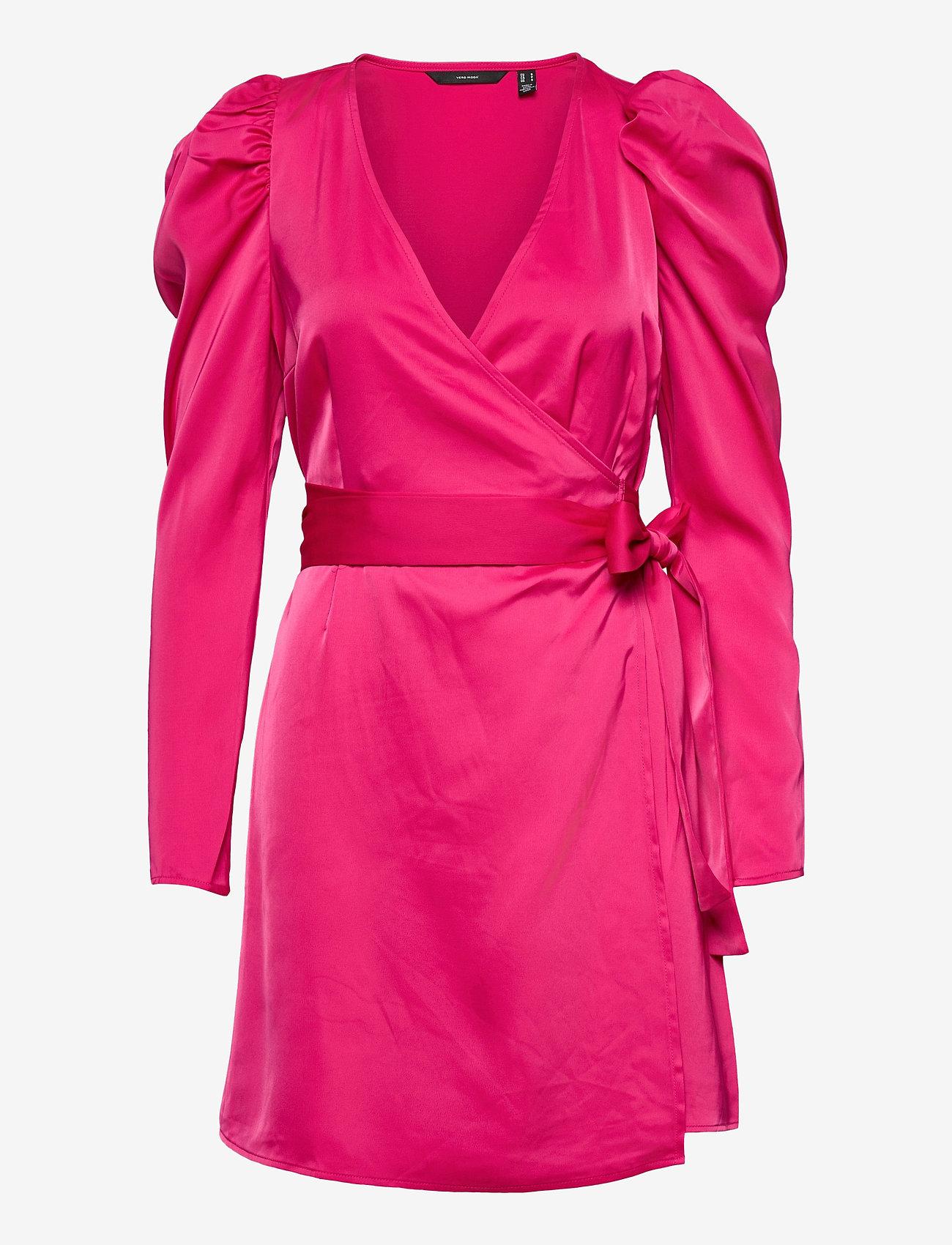 Vero Moda - VMJUVA L/S WRAP SHORT DRESS WVN LCS - omlottklänningar - pink peacock - 0