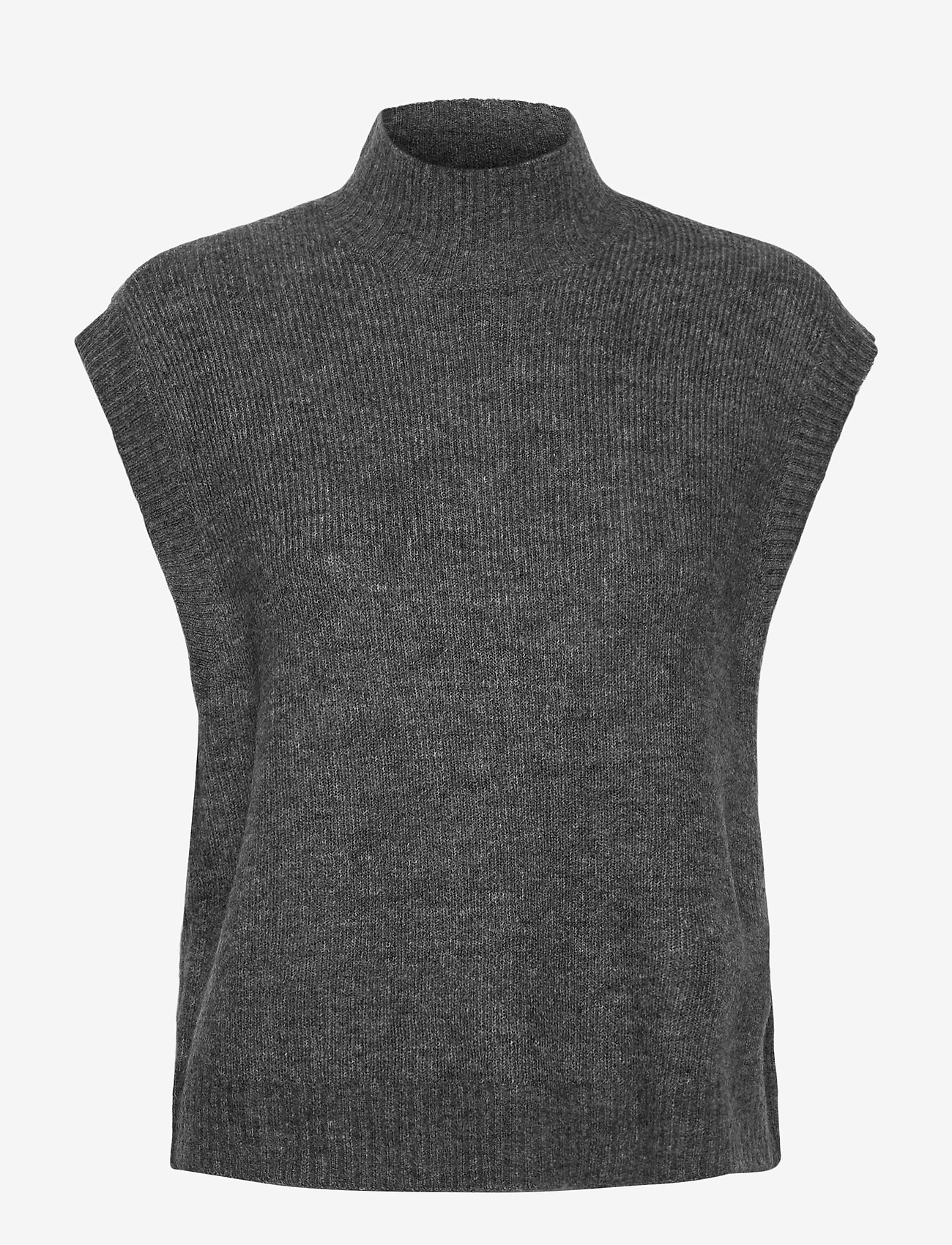 Vero Moda - VMLEFILE SL HIGHNECK VEST BOO - stickade västar - medium grey melange - 0
