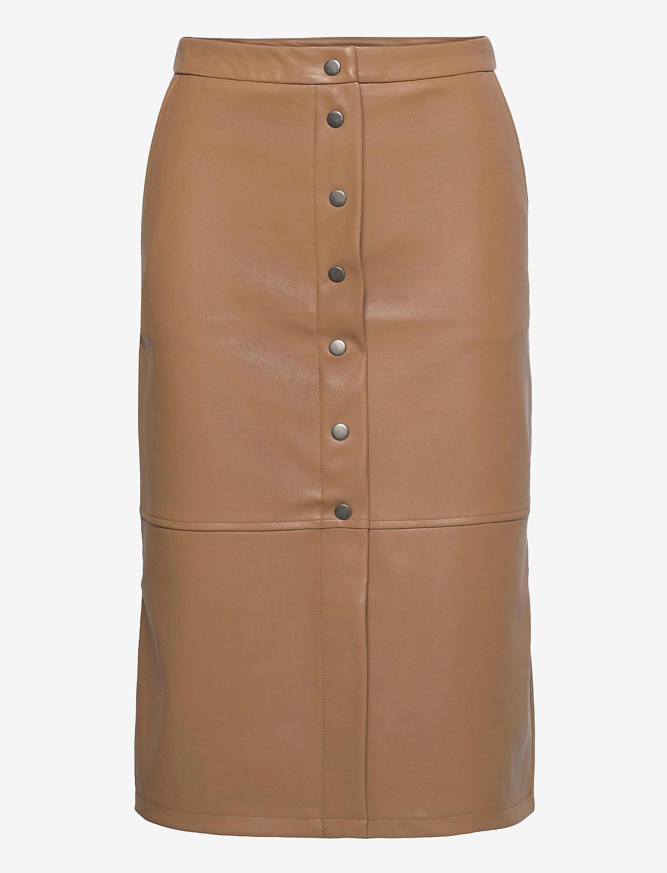Vero Moda - VMSOLANAN HW COATED CALF SKIRT - midi kjolar - tobacco brown - 0
