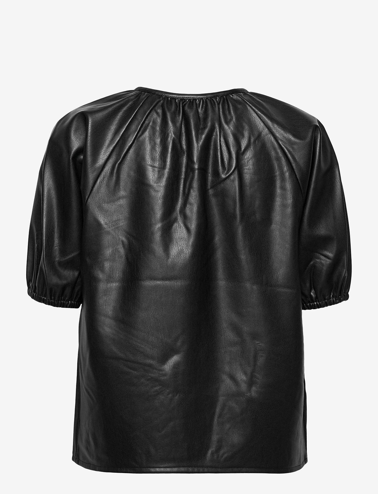 Vero Moda - VMSOLAGLORIA S/S COATED TOP - kortärmade blusar - black - 1