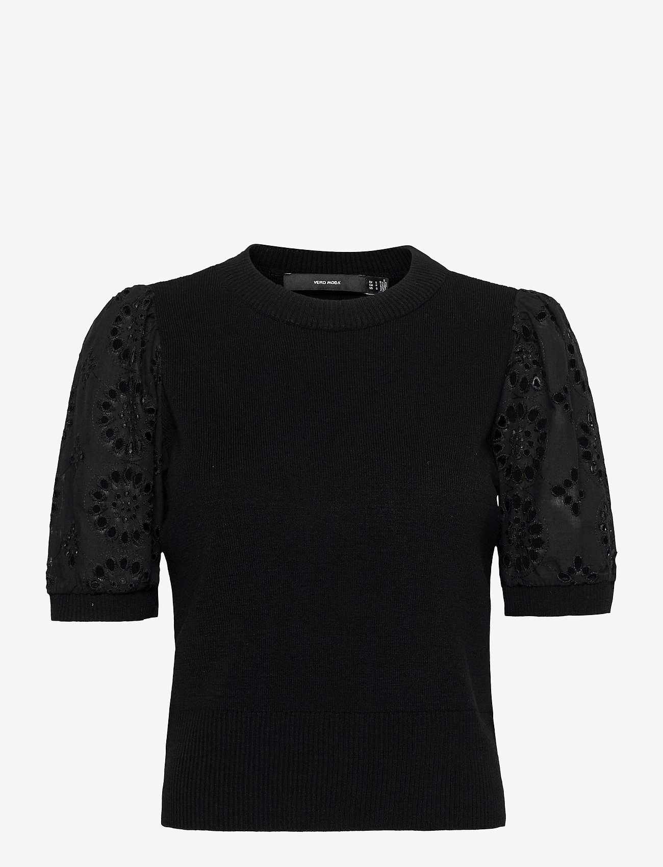Vero Moda - VMNEWFLOWERS SS O-NECK BLOUSE - stickade toppar - black - 0