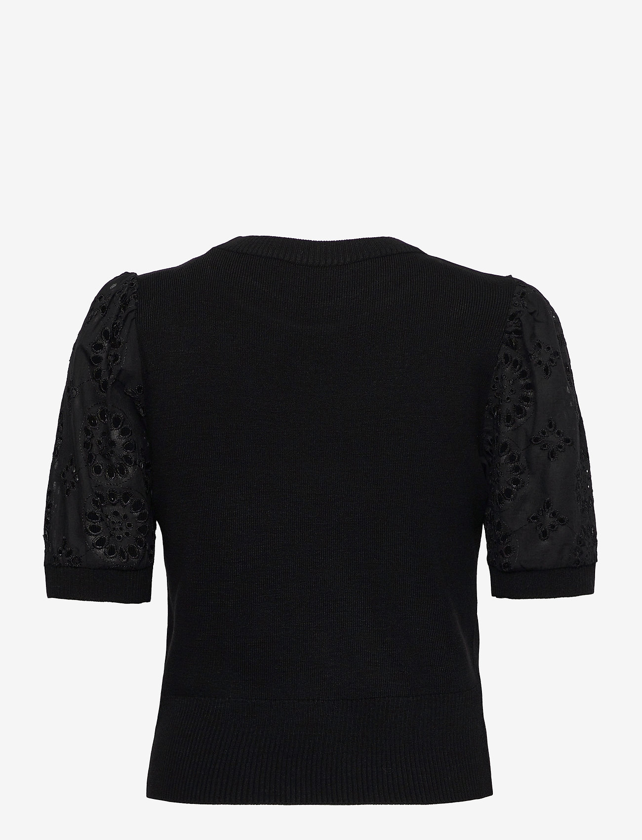 Vero Moda - VMNEWFLOWERS SS O-NECK BLOUSE - stickade toppar - black - 1