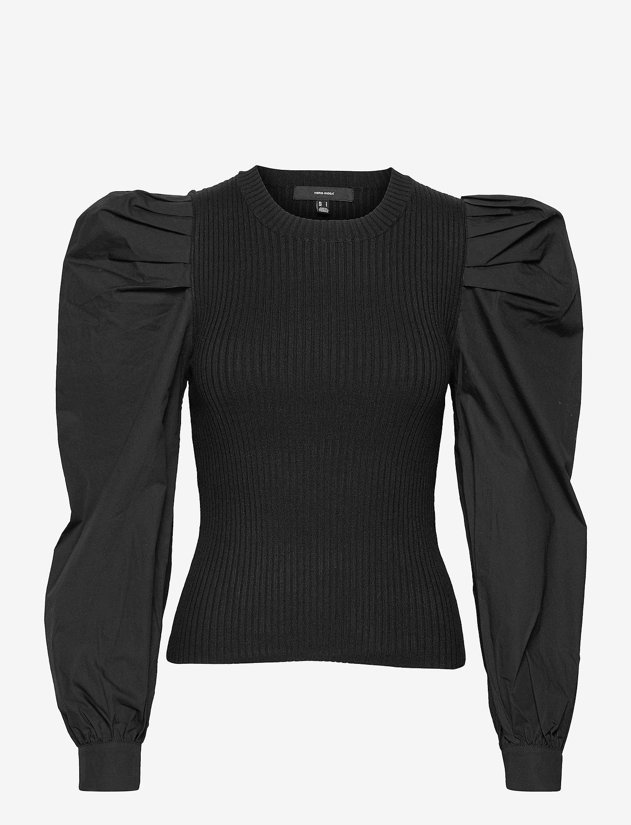 Vero Moda - VMMORGAN LS O-NECK BLOUSE GA - långärmade blusar - black - 0