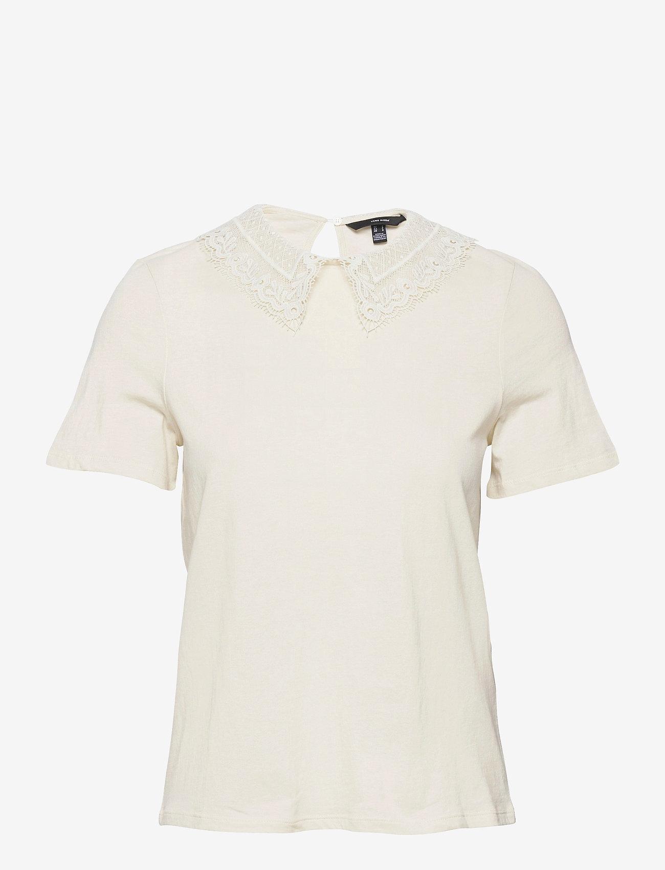 Vero Moda - VMDUNA SS COLLAR TOP JRS GA - t-shirts - birch - 0