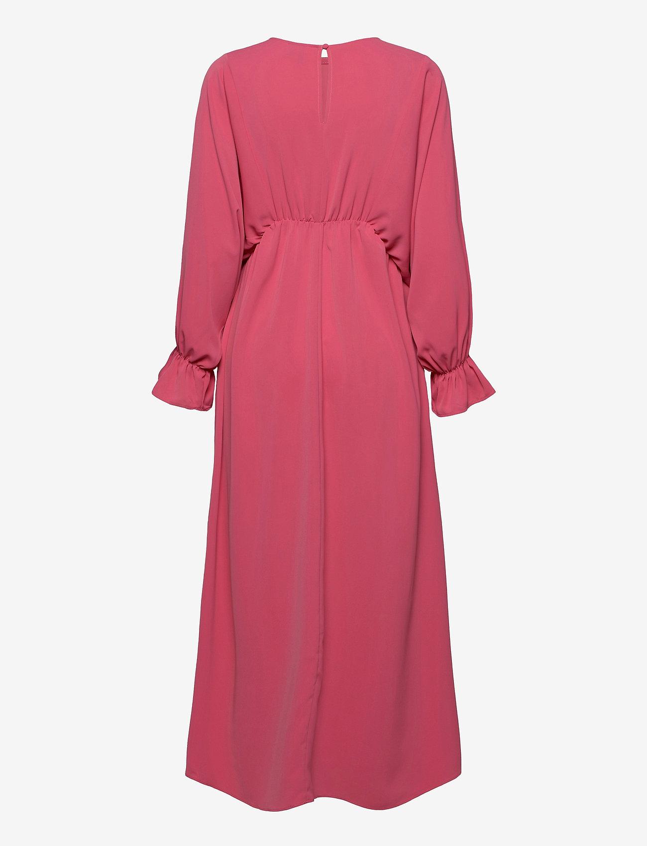 Vero Moda - VMALLY WIDE L/S ANKLE DRESS EXP - midiklänningar - hot pink - 1