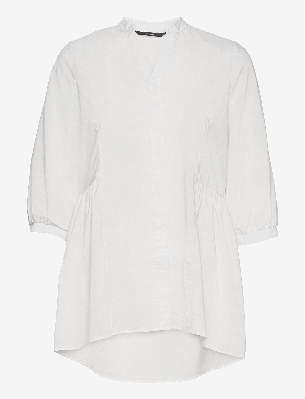 Vero Moda - VMCLARA 3/4 LONG SHIRT - långärmade skjortor - snow white - 0