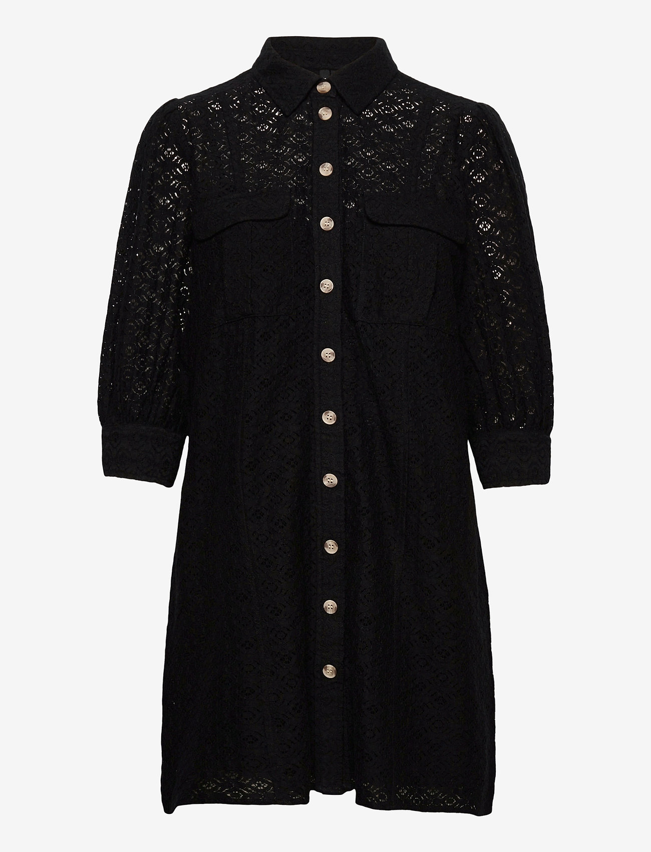 Vero Moda - VMHENNY LACE 3/4 SHORT SHIRT DRESS EXP - vardagsklänningar - black - 0