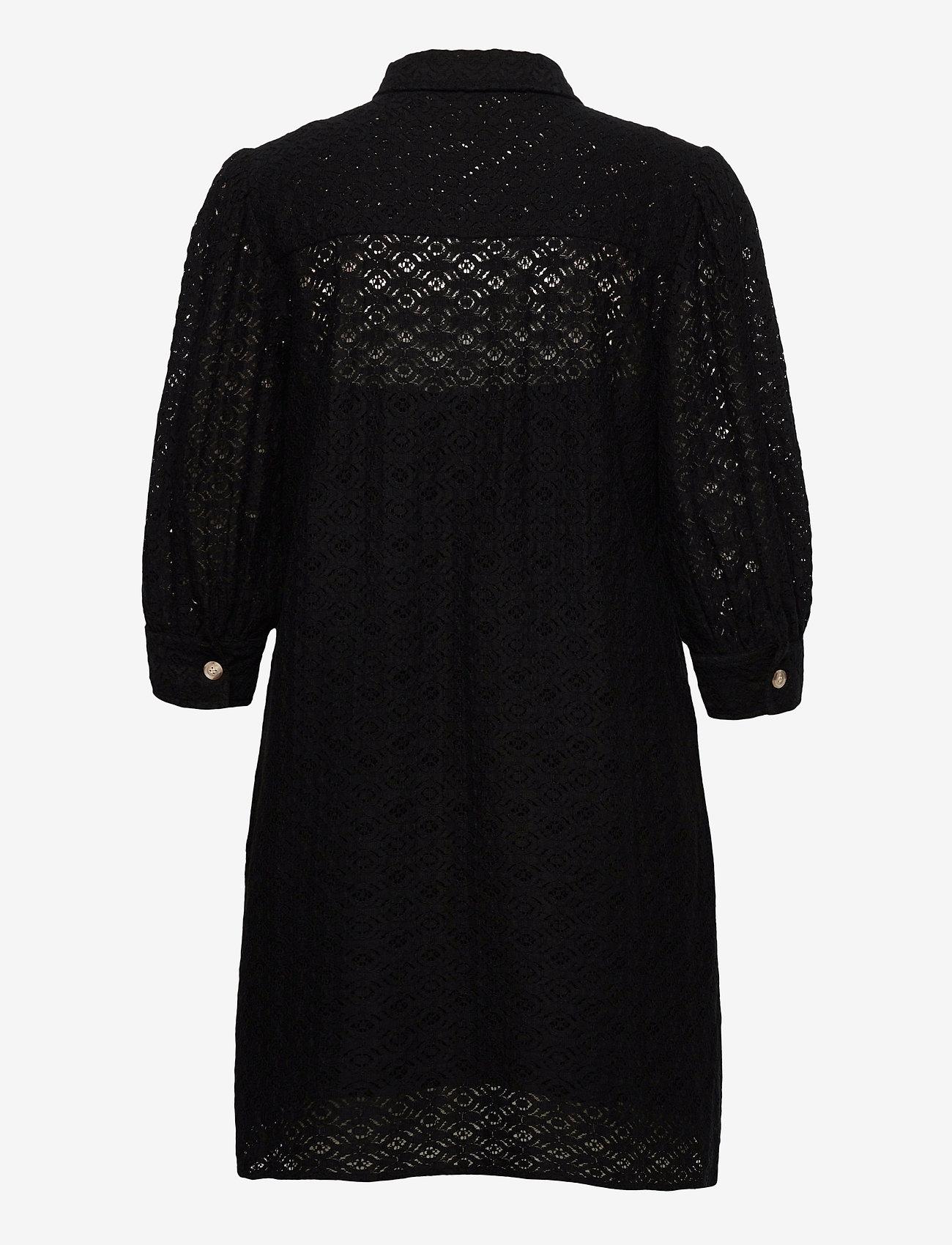 Vero Moda - VMHENNY LACE 3/4 SHORT SHIRT DRESS EXP - vardagsklänningar - black - 1