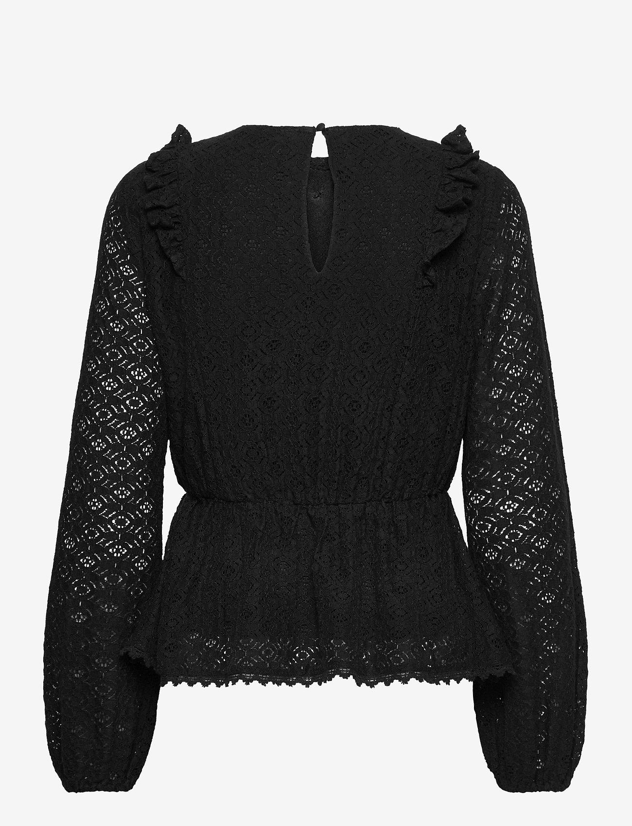 Vero Moda - VMHENNY LACE L/S PEPLUM TOP EXP - långärmade blusar - black - 1