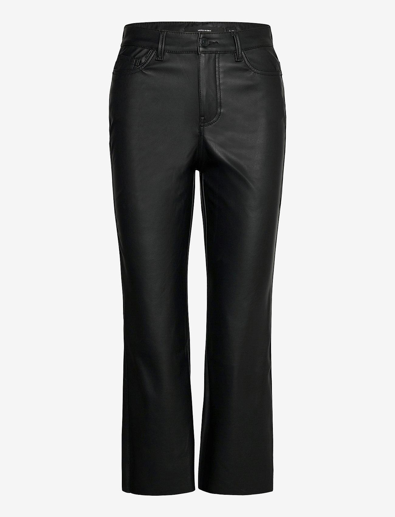 Vero Moda - VMSTELLA HR KICK FLARE PL COATED PANT - skinnbyxor - black - 0