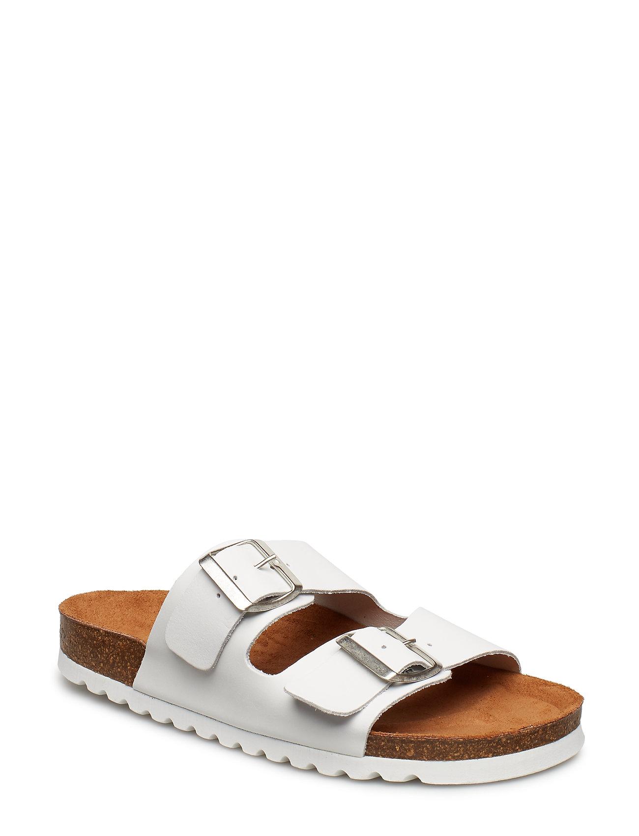 f915e4a01 Vmnicoline Leather Sandal Flade Sandaler Hvid VERO MODA