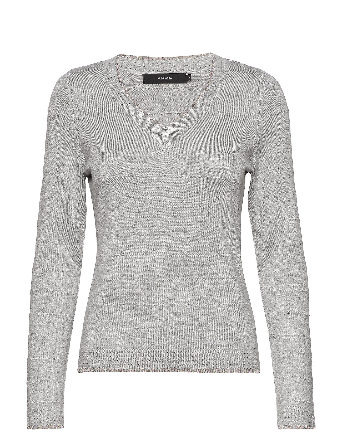 Vero Moda VMCLAIR GLORY LS V-NECK BLOUSE LCS - LIGHT GREY MELANGE