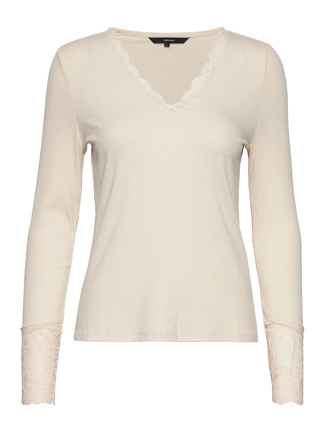 Vero Moda VMANJA LS LACE TOP JRS - BIRCH