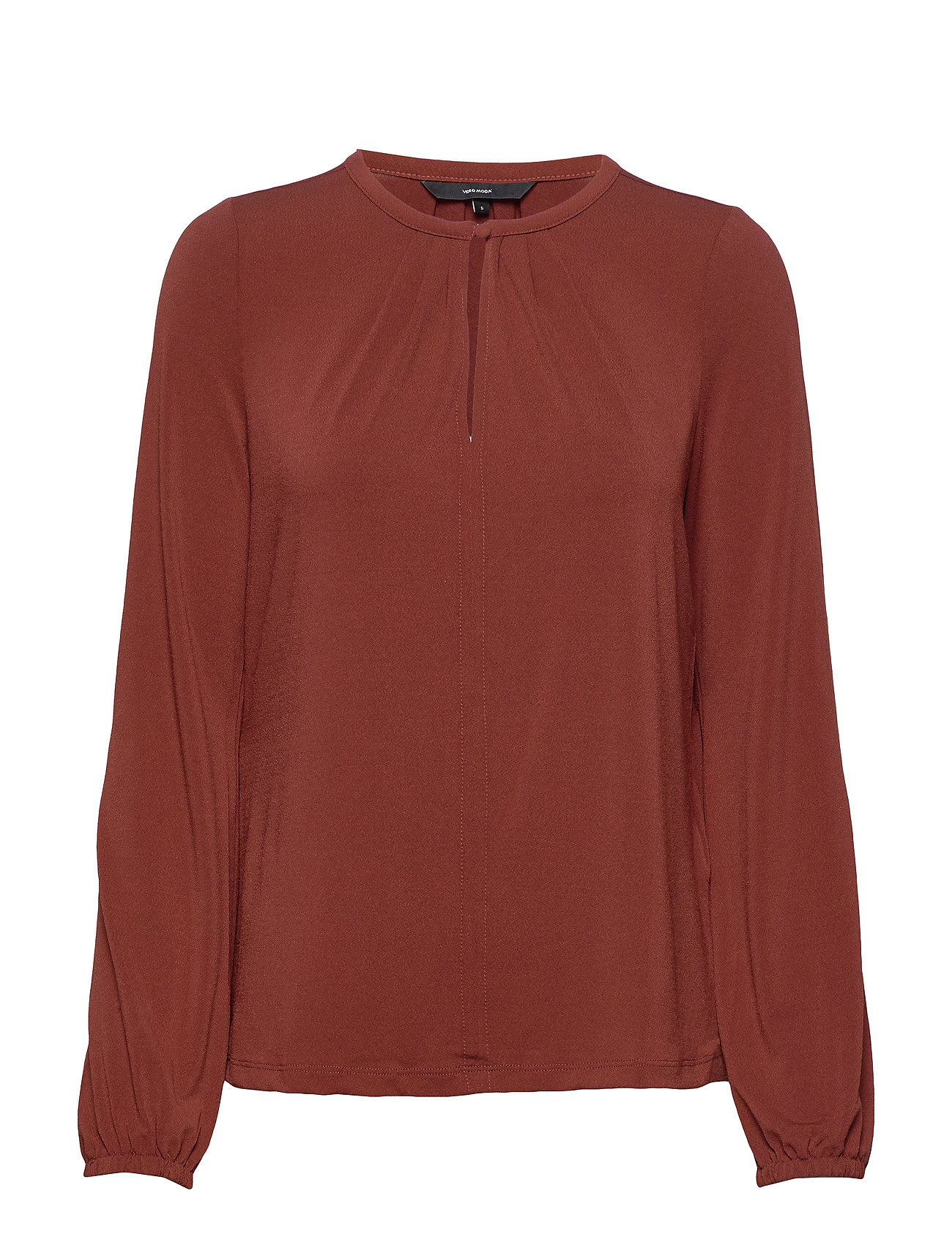 Vero Moda VMMILLA L/S BUTTON TOP VO - MADDER BROWN