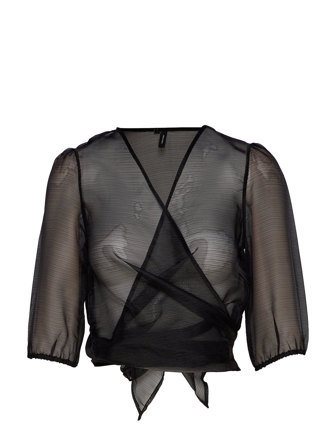 Vero Moda VMAVA 2/4 WRAP TOP SB2 - BLACK