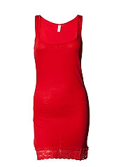 New elif lace long tank top - TOMATO RED
