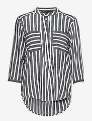 Vero Moda - VMERIKA STRIPE 3/4 SHIRT TOP E10 - långärmade blusar - black - 0