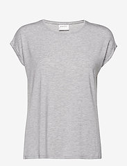 Vero Moda - VMAVA PLAIN SS TOP GA - t-shirts - light grey melange - 0
