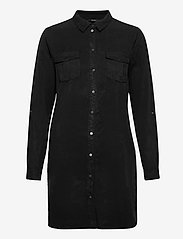 Vero Moda - VMSILLA LS SHORT DRESS BLCK GA - skjortklänningar - black - 0