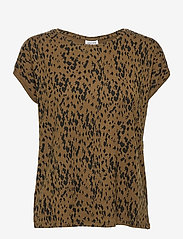 Vero Moda - VMAVA PLAIN SS TOP AOP GA COLOR - t-shirts - beech - 0