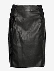 Vero Moda - VMBUTTERSIA HW COATED SKIRT - korta kjolar - black - 0