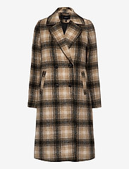 Vero Moda - VMHAILEY CHECK LONG WOOL JACKET GA - ullkappor - tobacco brown - 0