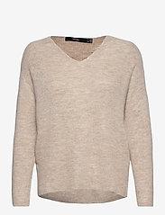 Vero Moda - VMCREWLEFILE LS V-NECK BLOUSE - tröjor - birch - 0