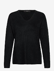 Vero Moda - VMCREWLEFILE LS V-NECK BLOUSE - tröjor - black - 0