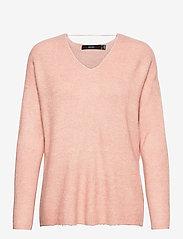 Vero Moda - VMCREWLEFILE LS V-NECK BLOUSE - tröjor - sepia rose - 0