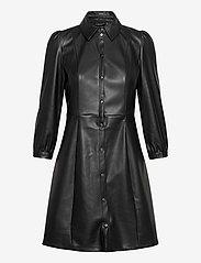 Vero Moda - VMBUTTERMOLLY ABOVE KNEE COATED DRESS - skjortklänningar - black - 0