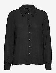 Vero Moda - VMISABELLA LS FRILL SHIRT GA VO - långärmade blusar - black - 0