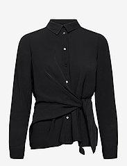 Vero Moda - VMMACI LS KNOT SHIRT WVN - långärmade skjortor - black - 0